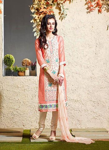 Cotton Silk Fabric & Cream Color Attractive Churidar Style In Straight Cut Look