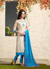 Cotton Silk Fabric & Sky Blue Color Attractive Churidar Style In Straight Cut Look