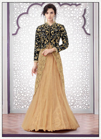 Achkan Style Incredible Salwar Kameez in Black & Net Fabric