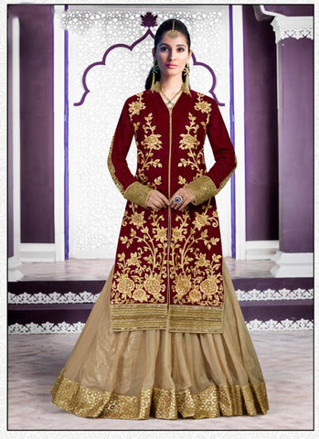 Maroon Color with Embroidery Work Incredible Unstitched Salwar Kameez