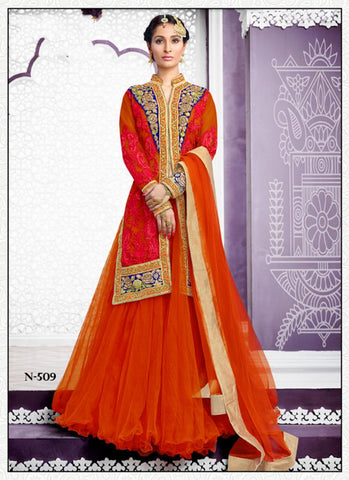 Net & Art Silk Straight Cut Style Incredible Unstitched Salwar Kameez