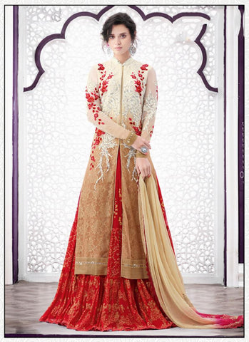 Achkan Style Incredible Salwar Kameez in Beige & Net Fabric