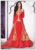 Achkan Style Incredible Salwar Kameez in Red & Net Fabric