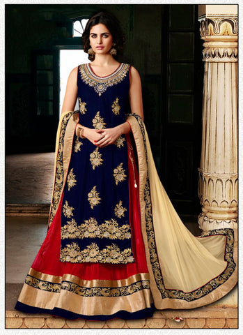 Blue Velvet Incredible Salwar Kameez in Straight Cut Style