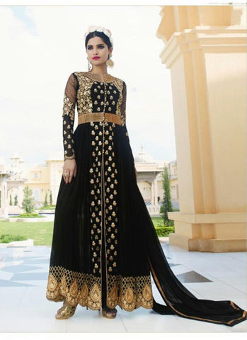 Black with Crystals Stones Work Wonderful Unstitched Salwar Kameez