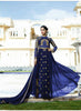 Anarkali Style Blue with Crystals Stones Work Astounding Unstitched Salwar Kameez