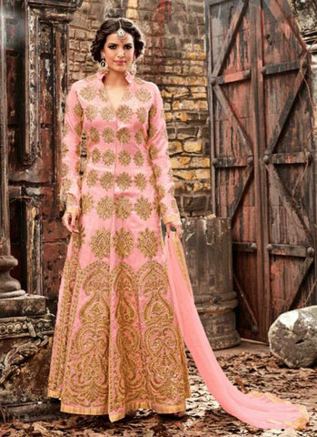 Pure Silk Fabric with Crystals Stones Work Incredible Unstitched Salwar Kameez