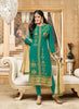Straight Cut Style Green with Embroidery Work Amazing Unstitched Salwar Kameez