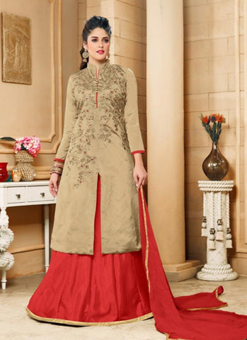 Achkan Style Incredible Salwar Kameez in Brown & Silk Fabric