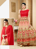 Anarkali Style Red with Digital Print Work Incredible Unstitched Salwar Kameez
