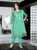 Shantoon Fabric & Turquoise Color Attractive Churidar Style In Straight Cut Look