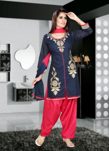 Shantoon Fabric & Deep Pink Color Attractive Patiyala Style In Achkan Look
