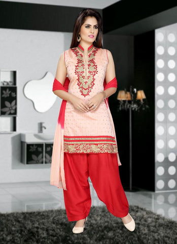Shantoon Fabric & Red Color Attractive Patiyala Style In Straight Cut Look