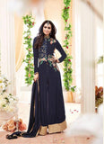 Achkan Style Blue with Embroidery Work Astounding Unstitched Salwar Kameez