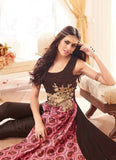 Achkan Style Brown with Embroidery Work Astounding Unstitched Salwar Kameez