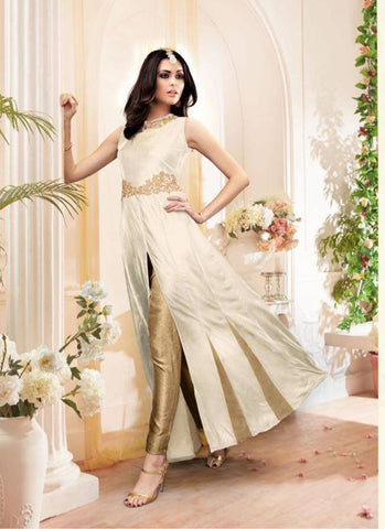 Achkan Style White with Embroidery Work Incredible Unstitched Salwar Kameez