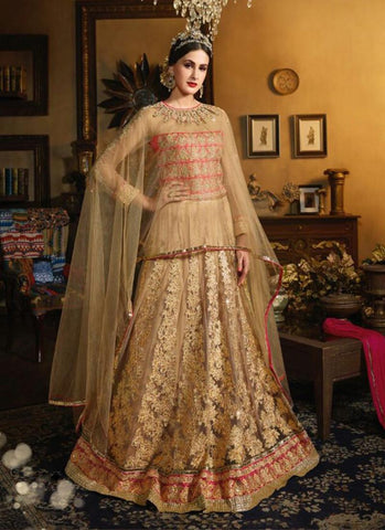 Net & Silk Long Anarkali Style Incredible Unstitched Salwar Kameez