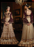 Long Anarkali Style Beige with Crystals Stones Work Incredible Unstitched Salwar Kameez