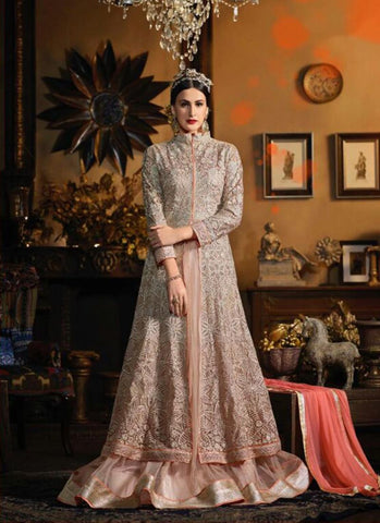 Achkan Style Incredible Salwar Kameez in Pink & Net Fabric