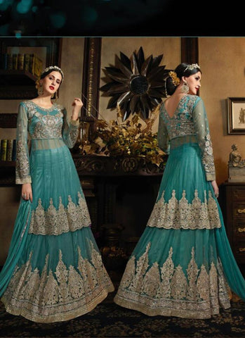 A Line Style Green Color with Embroidery Work Incredible Unstitched Salwar Kameez