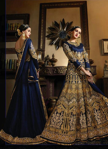 A Line Style Blue Color with Embroidery Work Incredible Unstitched Salwar Kameez