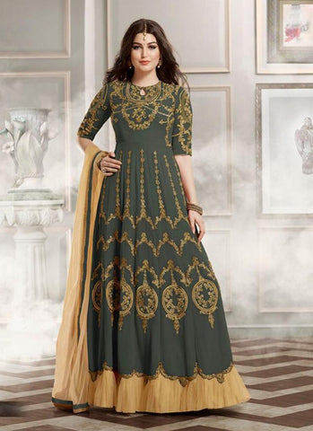 Anarkali Style Grey Color with Lace Work Incredible Unstitched Salwar Kameez