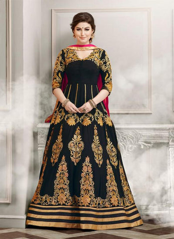 Anarkali Style Incredible Salwar Kameez in Black Color & Silk Fabric