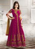 Anarkali Style Incredible Salwar Kameez in Pink & Silk Fabric
