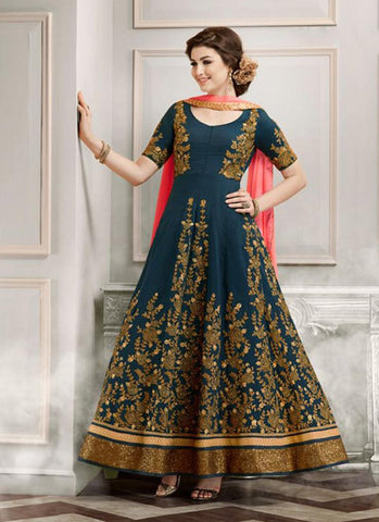 Anarkali Style Incredible Salwar Kameez in Blue Color & Silk Fabric