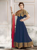 Blue Color Silk Incredible Salwar Kameez in Long Anarkali Style