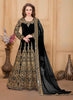 Long Anarkali Style Black with Mirror Work Incredible Unstitched Salwar Kameez