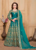 Long Anarkali Style Blue with Mirror Work Incredible Unstitched Salwar Kameez