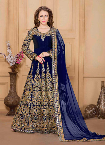Long Anarkali Style Blue Color with Mirror Work Incredible Unstitched Salwar Kameez