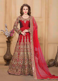 Long Anarkali Style Red with Embroidery Work Incredible Unstitched Salwar Kameez