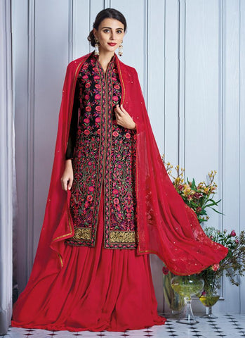 Achkan Style Black with Embroidery Work Astounding Unstitched Salwar Kameez