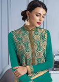 Straight Cut Style Green Color with Mirror Work Astounding Unstitched Salwar Kameez