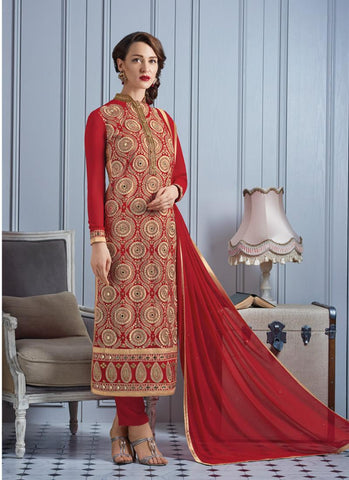 Straight Cut Style Red with Mirror Work Astounding Unstitched Salwar Kameez