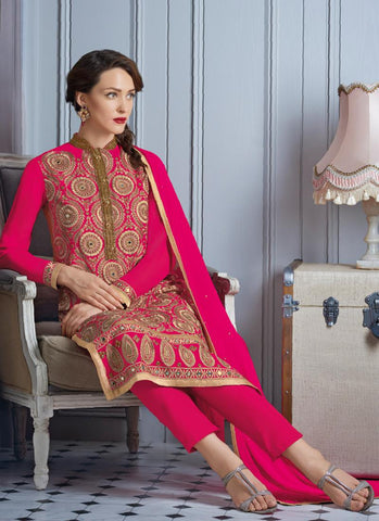 Pink with Mirror Work Incredible Unstitched Salwar Kameez
