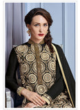 Straight Cut Style Black Color with Mirror Work Incredible Unstitched Salwar Kameez