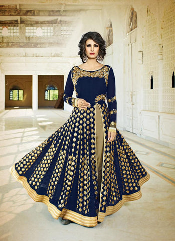 Achkan Style Blue with Sequins Work Astounding Unstitched Salwar Kameez
