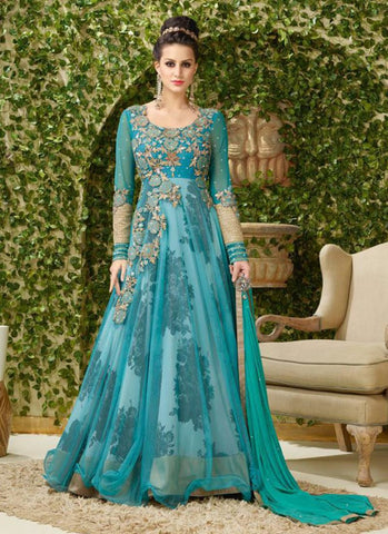Anarkali Style Green with Printed Work Astounding Unstitched Salwar Kameez