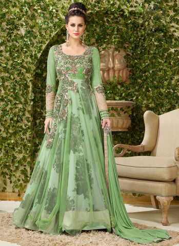 Anarkali Style Green Color with Printed Work Incredible Unstitched Salwar Kameez