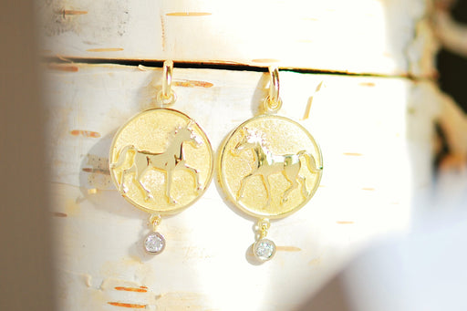 15k Gold Thoroughbred Earrings with Gems
