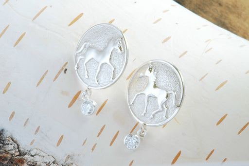 Silver Thoroughbred Earrings with Gem