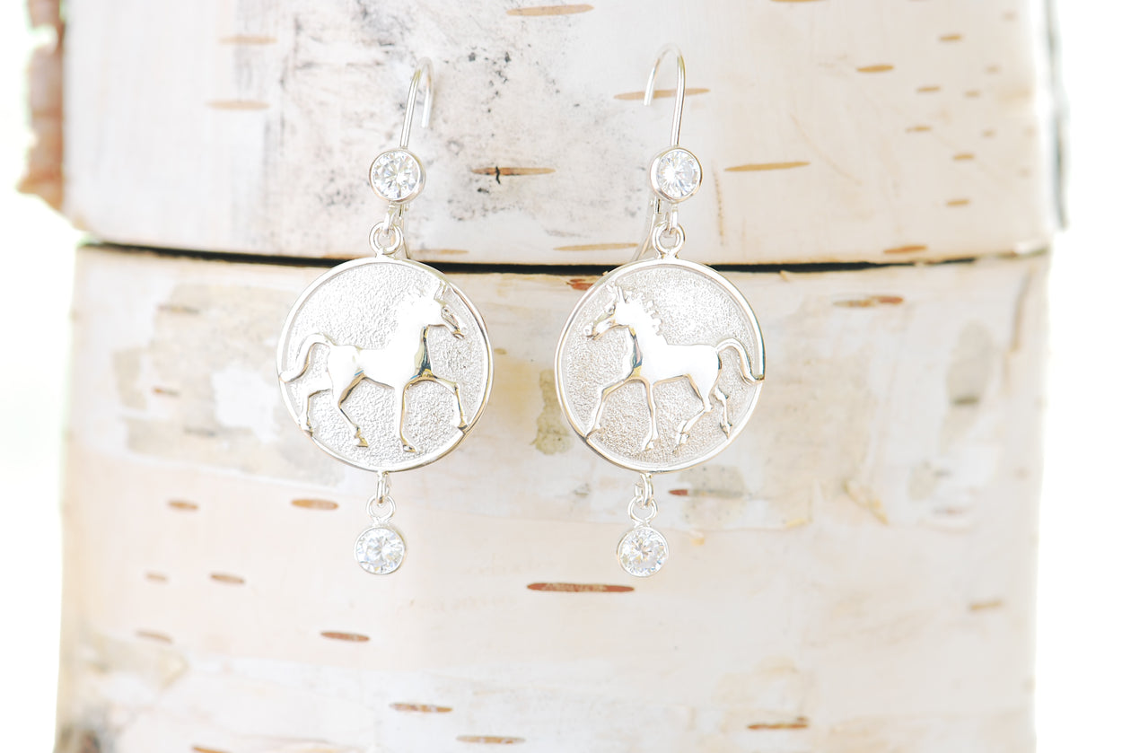 Silver Thoroughbred Earrings with Two Gems