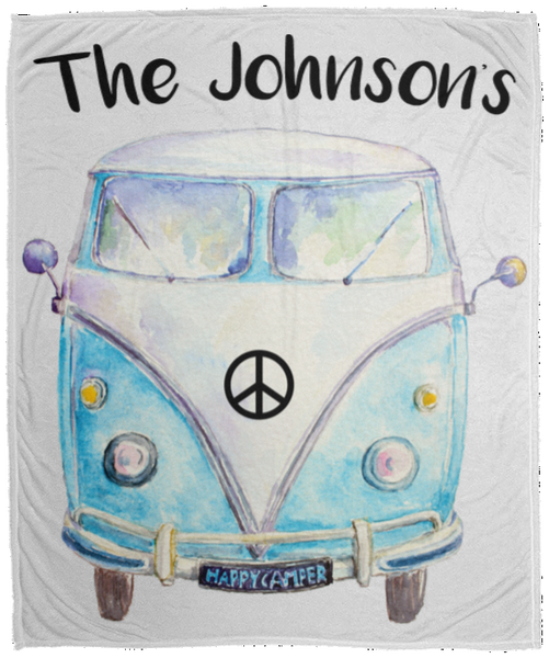 Personalized Family Bus Cozy Plush Fleece Blanket - 50x60
