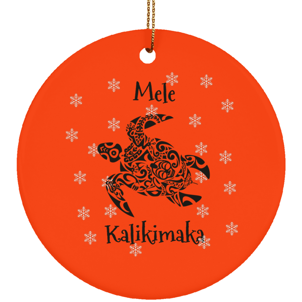 Mele Kalikimaka Tribal Turtle Christmas Ornament Circle