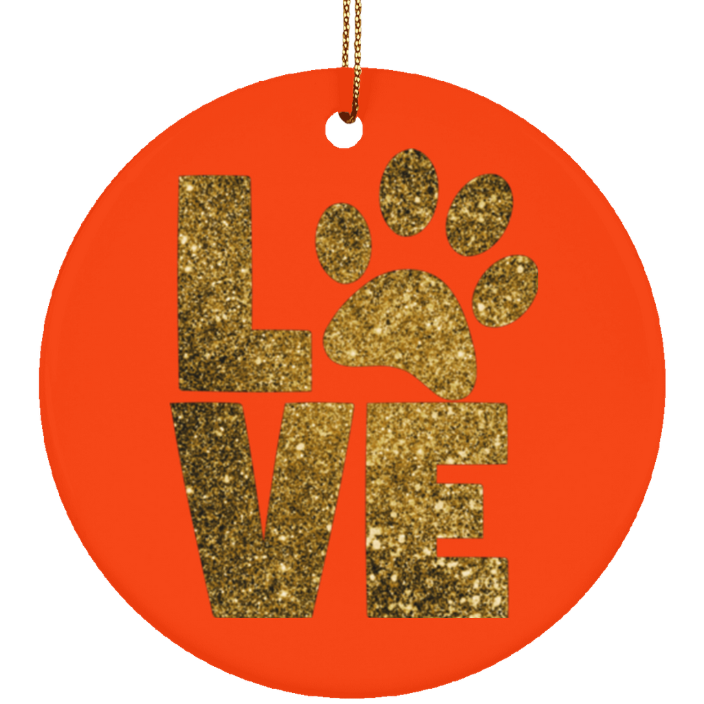 Paw Print Love Christmas Tree Ornament Circle