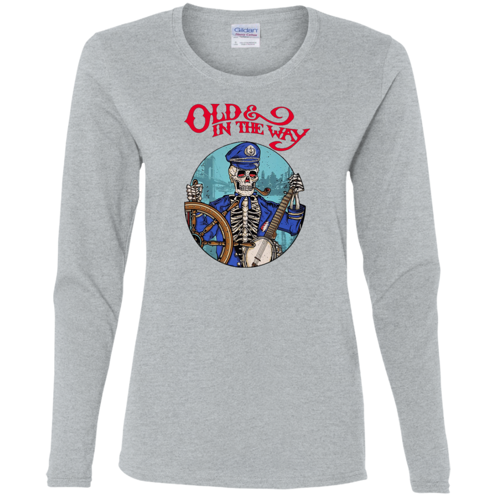 Old In The Way Skeleton Ladies' Cotton Long Sleeves T-Shirt