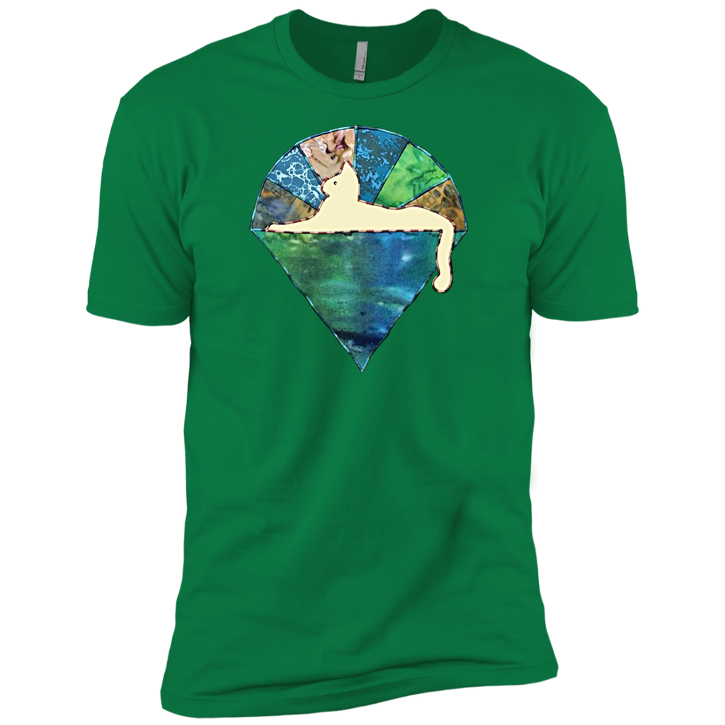 Blue Green Cat Premium Cotton T-Shirt